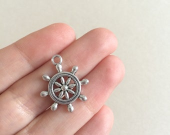 26 Antique Silver Ship Wheel Charms Silver Ships Helm Pendants Necklace Charms Silver Pendants Nautical Charms Silver Jewelry Charms