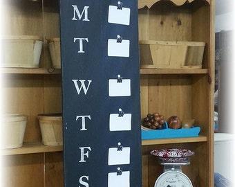 "Menu Board - Chalkboard - 11.5"" x 36"" Made To Order - Family Weekly Menu Plannner"