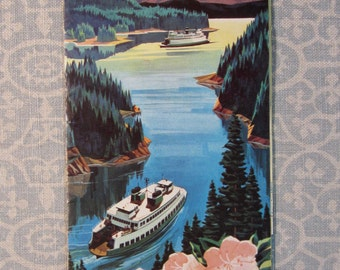 Vintage 1959 Color Brouchure Fold-out Ferry Cruises on Puget Sound - VG
