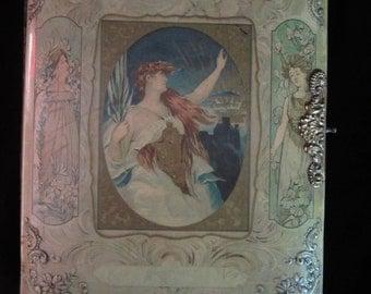 Vintage 1910 Art Nouveau Celluloid Photo Album with Velvet Back Cover