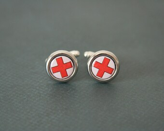 Red Cross Cuff Links Blood Donor  - made with buttons with a red cross on them