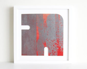 "Etching Print .  Red + Silvery gray Home Decor: ""Form 17"".  Print Size 9.5"" x 9.5"""