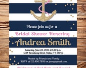 Nautical Bridal Shower Invitation, Anchor bridal shower invitation, gold anchor, glitter, pink, navy, stripes, anchors away, wedding, 5331
