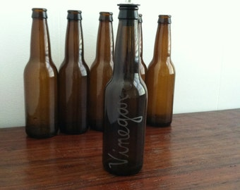 Vinegar Engraved Beer Bottle Pourer