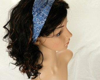 Western Bandana Headband Light Blue and White Paisley Bandana Headband Country Western Cowgirl Hair Accessory Handmade  by Thimbledoodle