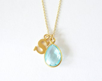 Lowercase Initial & Birthstone Necklace - Personalized - Gold Initial Necklace - Birthstone Jewelry