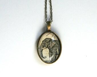 Elephant art jewelry. Animal lover gift. Wearable art. Vintage Illustration jewelry. Animal art pendant necklace. Elephant necklace.