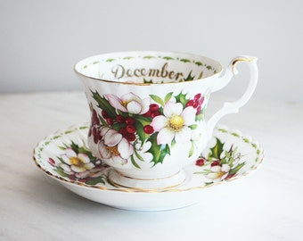 Royal Albert Teacup and Saucer / December Christmas Rose Flower of the Month Series
