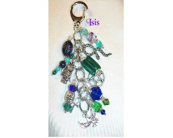 Isis Charm Clip for Purse / Bag / Jeans / Car - Malachite, Fluorite, Lapis Lazuli