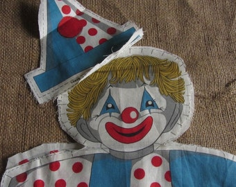 "Retro Clown Fabric Cut Out Pre Printed Stuffed Doll 17"" Tall"