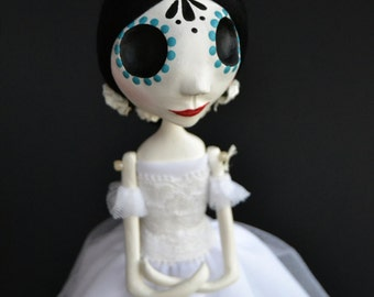 Ballerina Art Doll - Day of the Dead Art - Dia de los Muertos - Spooky Ballerina