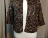 Vintage Shades of Brown and Gray Cardigan Sweater with 3/4 Sleeves and Antique Brass Buttons Ladies Size Small, Wool & Acrylic (ss)