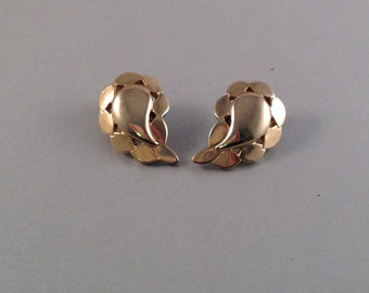 Vintage Gold Leaf Clip on Earrings by Monet 1.25 Inches Long .5 Inches Wide Previously 14 Dollars ON SALE