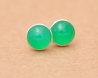 Green Onyx earrings with Sterling Silver studs, 6mm Deep Green Gemstones
