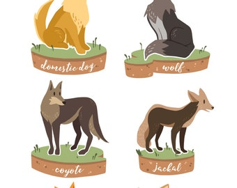Canine Family Poster / Quirky Dog Illustration Print