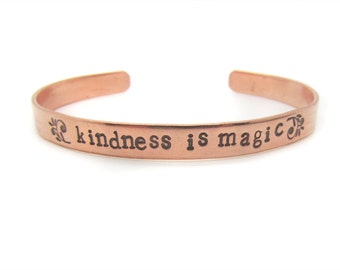 custom hand stamped copper bracelet - unisex bracelet -kindness is magic - birthday gift, bohemian, boho, quote, modern, unique jewelry