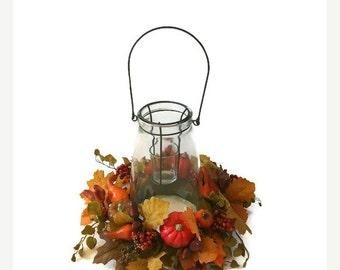 ON SALE 20% OFF Fall Centerpiece Rustic Centerpiece Autumn Fall Table Pumpkin Centerpiece Fall Home Decor Fall Candle Centerpiece Autumn Flo