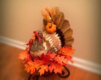 ON SALE 20% OFF Thanksgiving Turkey Centerpiece Fall Table Centerpiece Wrought Iron Centerpiece Fall Floral Arrangement Autumn Floral