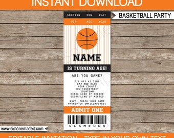 Basketball Ticket Invitation Template - Birthday Party - INSTANT DOWNLOAD with EDITABLE text - you personalize at home