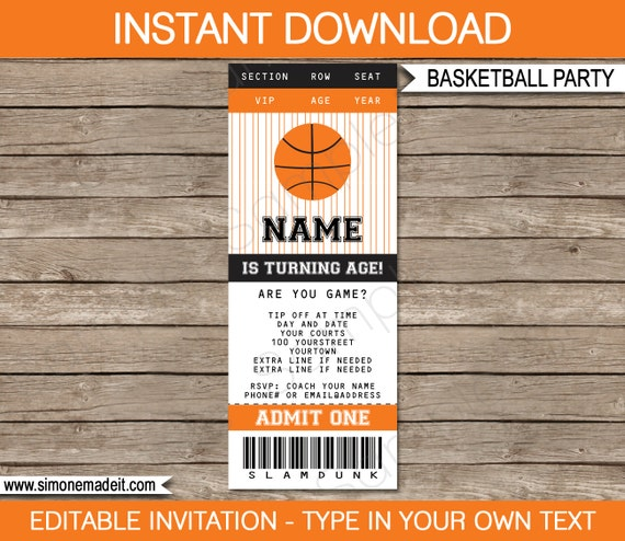 basketball ticket invitation template birthday party. Black Bedroom Furniture Sets. Home Design Ideas