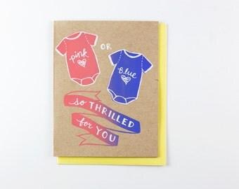 Pink or Blue - gender reveal baby card