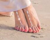 Bridal Barefoot Sandals- Crystal Foot Jewelry- Body Jewelry- Barefoot Wedding Sandals- Beach Wedding- Bridesmaid gift- Boho Wedding Shoe