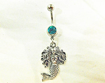 Belly Ring, Nautical Silver Mermaid  Womens Gift  Handmade