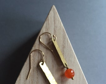 Hammered Brass Rectangle Earrings with Carnelian Stones. Orange Earrings