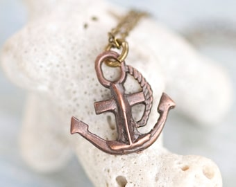 Tiny Anchor Necklace - Miniature Copper Pendant on Chain - Nautical Jewelry
