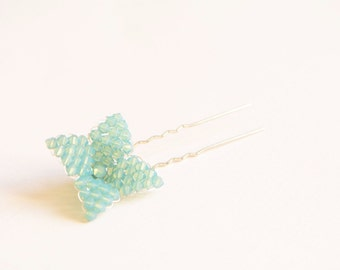 Mint Swarovski flower bridal hair pin