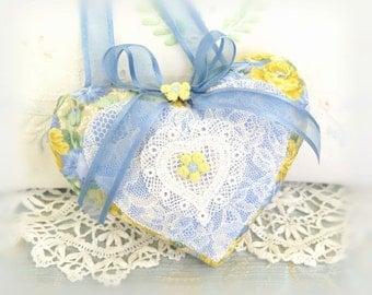 Heart Ornament Heart Door Hanger, Blue and Yellow, Cottage Chic Heart Folk Art, Handmade CharlotteStyle Decorative Folk Art Charlotte Style