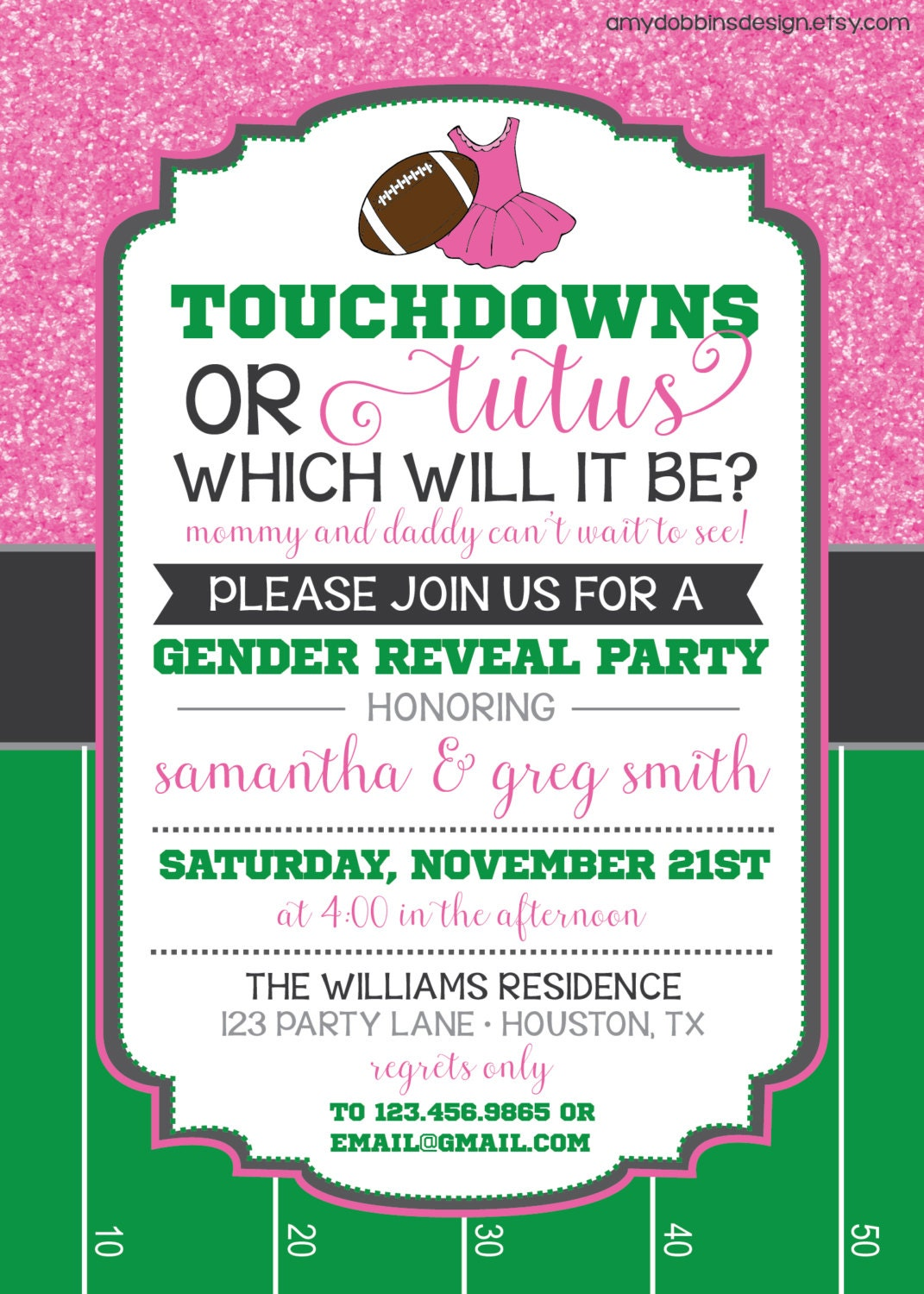 Touchdowns or Tutus Gender Reveal Invitation Custom Colors