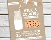 Personalized Printable Milk and Cookies Invitation - Personalized Printable Invite for Children's Birthdays or Kid's Parties .. mc02