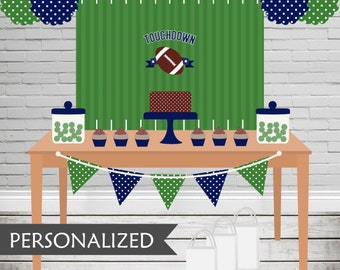 Printable Football Backdrop - 3x4 ft. Personalized Printable Party Poster for Sports Themed Parties .. fb01