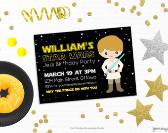 Personalized Printable Star Wars Inspired Invitation - Invite and Favor Tag or Printable Party Luke Skywalker Invitation Star Wars Invite
