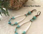 Dentalium Shell Earrings - turquoise stone beads