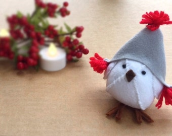 Christmas Bird Felt Birds Christmas Hat Christmas Decorations Christmas Ornaments Fabric Bird Figurine Felt Bird Ornament Home Decor