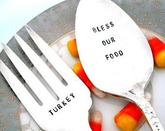 Stamped Spoon - BLESS OUR FOOD- Thanksgiving Decor -  Serving Spoon and Fork