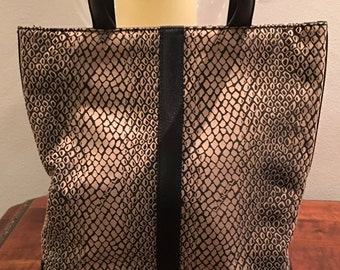 Lance Leather and Canvas Animal Print Small Tote Handbag in Creme and Black