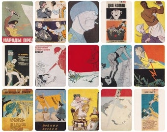 Soviet Posters. Set of 23 Satirical Posters on Vintage Postcards (out of 24) by Kukryniksy in original cover -- 1985. Good Cond., cover 9/10