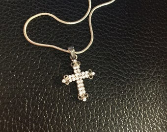 Crystal Fleur de Lys Style Cross with Snake Chain Necklace - Claire's