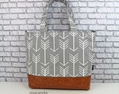 Extra Large Lulu Tote Overnight Diaper Bag -Grey Arrows and PU Leather - READY to SHIP  Nappy Bag Archer Fletcher Attach to Stroller