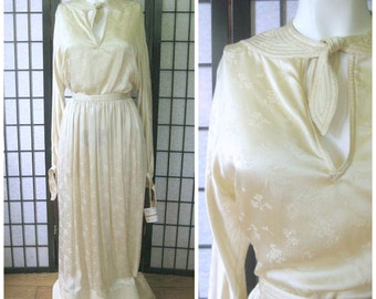 Vintage Geoffrey Beene Maxi 1960s 1970s Ivory Silk Crepe de Chine 2 pc Outfit Blouse Skirt Dress Deadstock NWT New Tag NOS 25 Waist M 6 / 8