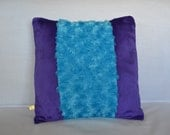 Fluffy Plush Pillow Cover - Purple and Turquoise