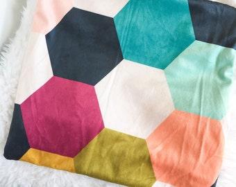 Fur Crib Blanket Bright Hexagon - Crib Blanket - Baby Blanket - Faux Fur Baby Blanket - Soft Minky Blanket - Hexagon Baby Blanket