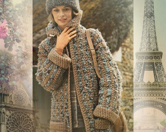 Instant Download PDF CROCHET PATTERN to make a Chunky Calf Length Open Style Womens Coat & Beanie Hat One Size to fit a 34 inch Bust