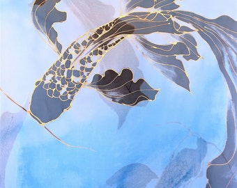 Silk Scarf Handpainted, Gift for her, Birthday Gift, Kimono Scarf, Silk Scarf Blue, Gold and Black Koi Scarf, Chiffon, Takuyo, 22x90 inches.