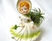 1950's RELPO Planter Girl with Bonnet flirty eyes Excellent