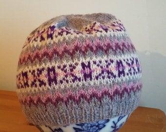 Handknitted Shetland fairisle hat,beanie,tam,beret,skiing,hiking,walking,winter,outdoors,sailing,boating,fishing