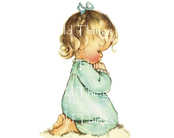 Vintage DIGITAL Image ~Adorable Little Girl Saying Her Prayers~ Greeting Card~ PNG JPEG Instant Download